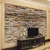 Custom Photo Wallpaper 3D Stone Wall Trunk Wallpaper Living Room Sofa TV Background Wall Murals Wallpaper
