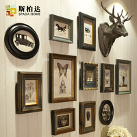 High end luxury European style Vintage Home Decor Photo Frame Set Mix and Match Collage Picture Frame Wall Elegant Wooden Crafts