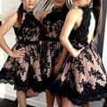2016 Lace Knee Length Homecoming Dresses Elegant Appliques Halter Short 8th grade Prom Dresses Keyhole Back vestido de formatura