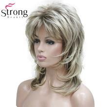 Lady Vrouwen Blonde Met Donkere Wortel Medium Lengte Cascade Lagen Synthetisch Haar Volledige Pruik