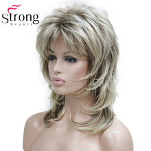 Lady Women Blonde With Dark Root Medium Length Cascaded Layers Synthetic Hair Full Wig(China)