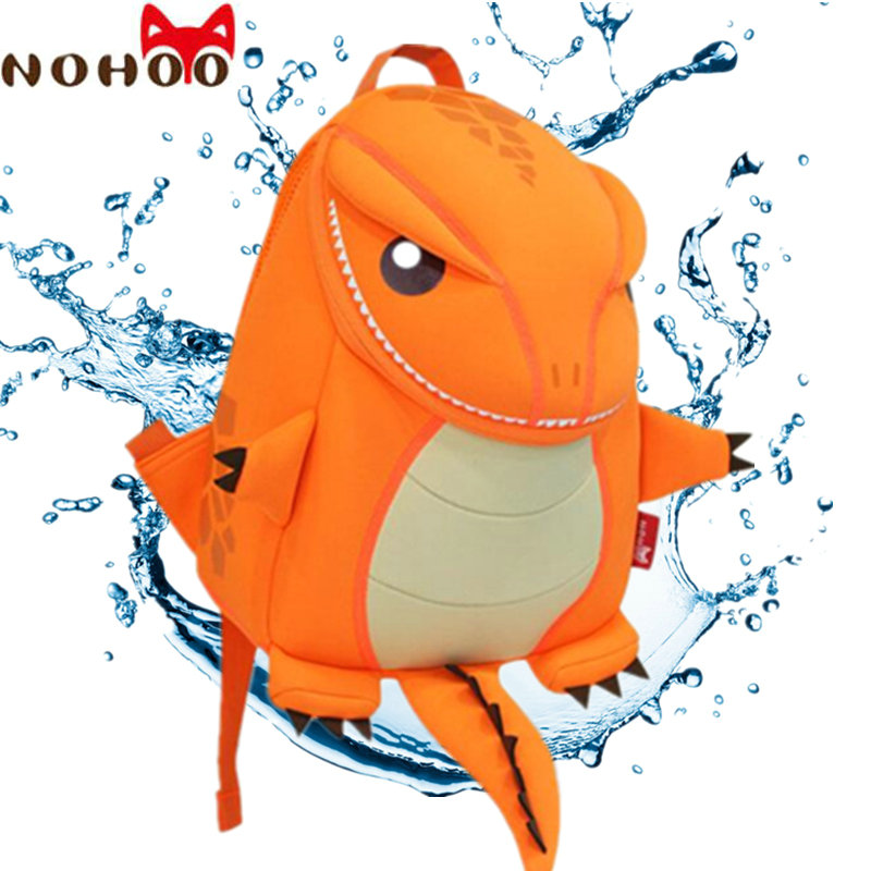 NOHOO Brand Animals School Bag for Girls Backpack Waterproof Neoprene Kids Cartoon School Backpacks for Boys Orange/Green-15 3d cartoon kindergarden backpack children bag mini school bags for kids bag girls boys cute kid car backpacks