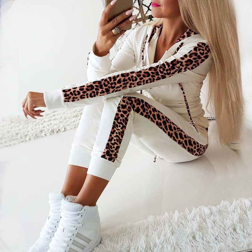 Taotrees Women Cotton Tracksuits Hoodies Outfiits Side Leopard Patchwork Hooded Zippers Sweatshirt And Pants 2 Pcs Set Sportwear