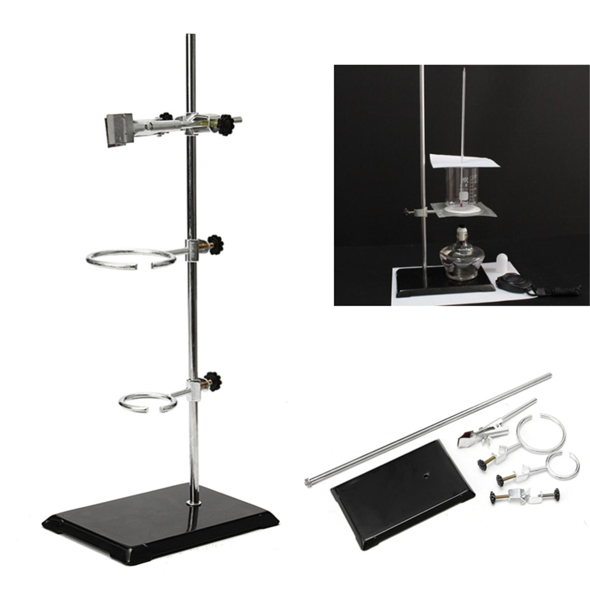 52CM Lab Laboratory Retort Stands Support Clamp Flask Platform Set High Height For Test Tube Flask School Laboratory Supply three prong extension lab flask clamp beaker clamp multifunction laboratory clamp chemistry lab stand for cylindrical glass tube