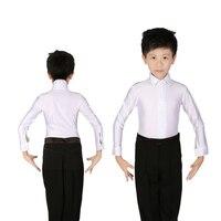 Classical White Boys Kids Latin Dance Costumes Shiny Spandex Modern Ballroom Tango Rumba Latin Shirts