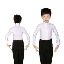 Meninos brancos Brilhantes Spandex Trajes de Dança Latina Modern Ballroom Latina Tango Rumba Camisas
