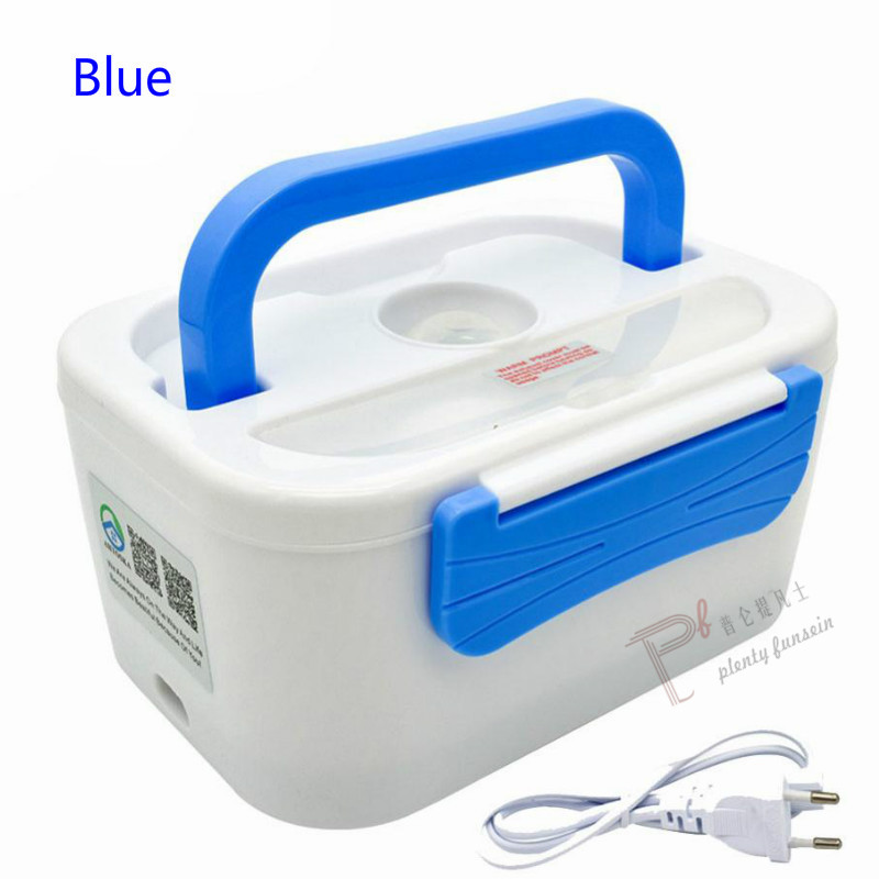 New 1.25L 40W Electric heating lunch box Portable PTC Heated plastic bile splitter Bento Warmer Food Container 220/110VAC/12VDC