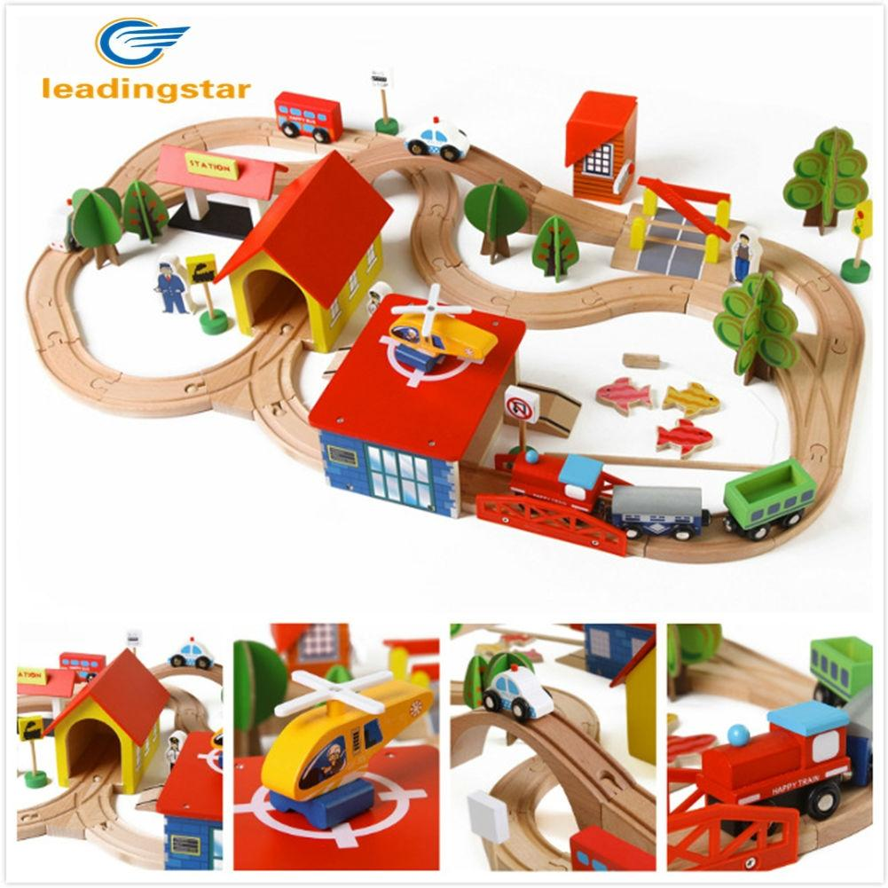 LeadingStar Wooden DIY Railway Track Train Puzzle Building Puzzle Toys for Kids as Xmas Gifts ZK25 78pcs hand crafted wooden train set triple loop railway track kids toy play set