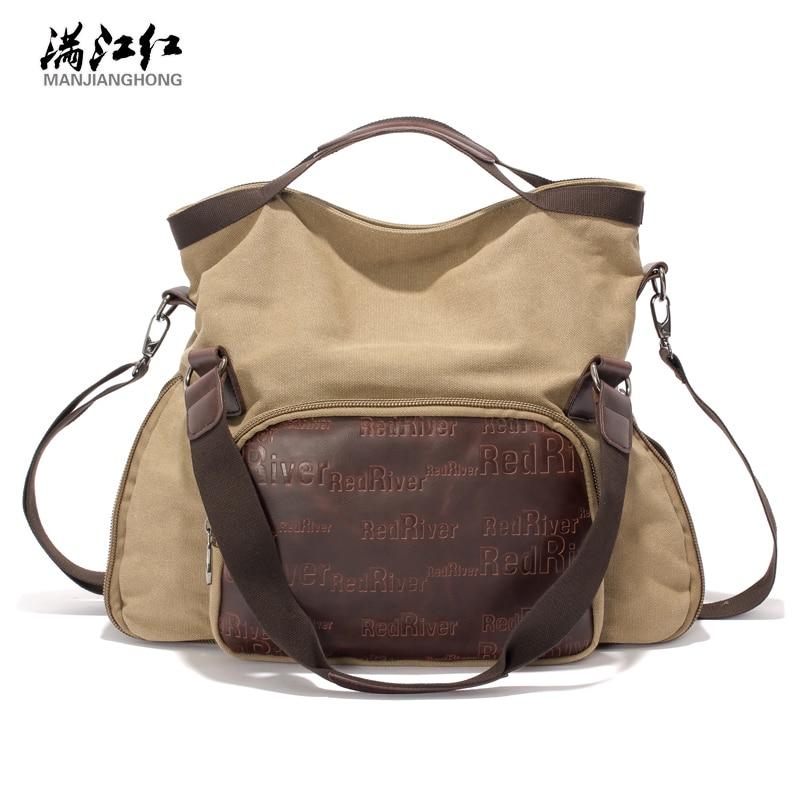 ФОТО Manjianghong Official Store Professional Canvas Bag Fashion Man Hand Bag Casual Popular Canvas Shoulder Bag Women Bag 1354