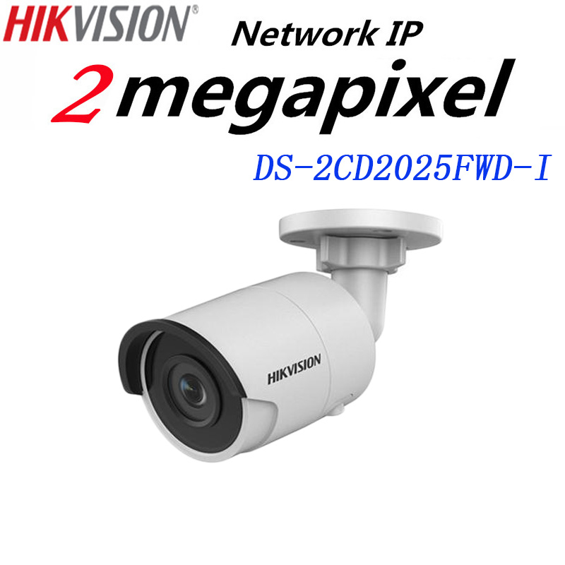 Hikvision English version DS-2CD2025FWD-I 2MP Ultra-Low Light Network mini Bullet IP security Camera POE SD card H.265+ free shipping english version ds 2cd2125fwd is 2mp ultra low light network dome camera poe cctv camera audio sd card h 265