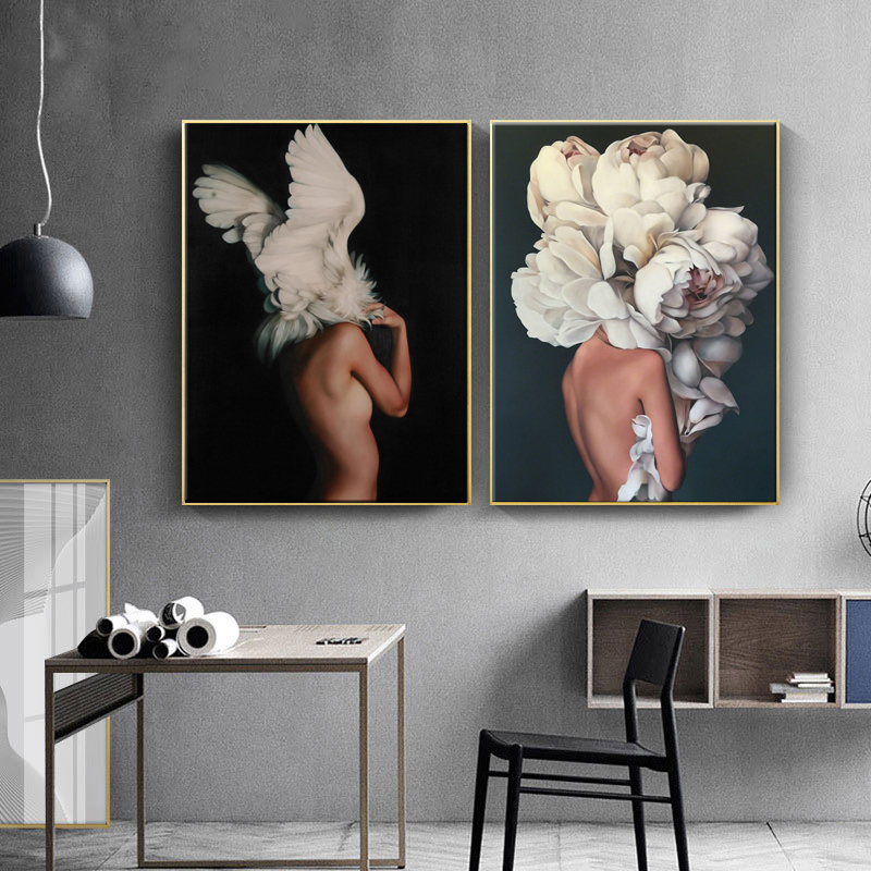 HAOCHU-Posters-and-Prints-Flowers-Feather-Sexy-Women-Character-Canvas-Painting-Wall-Pictures-For-Living-Room (3)