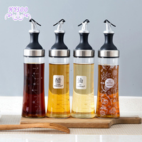 Stainless Steel Glass Oil Bottle Kitchen Leakproof Oil Bottle Household Soy Sauce Bottle Vinegar Tank