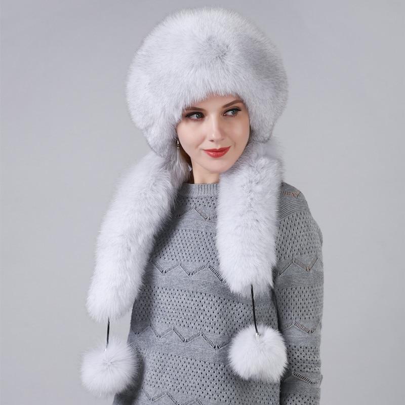Sombrero de invierno de mujer con piel de zorro Natural Real longitud Extra se puede utilizar como bufanda con colgante cadena en las tapas traseras - 5