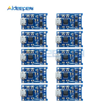 10Pcs Micro USB 5V 1A 18650 TP4056 Lithium Battery Charger Module Charging Board With Protection Dual Functions 100pcs micro usb 5v 1a 18650 tp4056 lithium battery charger module charging board with protection dual functions