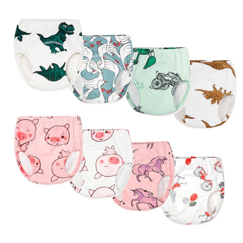 New Cute Baby Toddler Training Pants Washable Cotton Cloth Diapers Nappy Reusable Infant Diaper Panties Waterproof Nappy Pocket