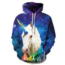True To Life Rainbow Unicorn 3D Hoodies Galaxy Prints Hooded Sweatshirt Cool Hoodie Pullovers For Women Men Dropship