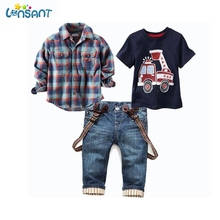 LONSANT Kids Clothes 2018 Children's Clothes Print Long Plaid Shirts T-Shirt Jeans Boys Children Clothing Set 1-9Y Dropshipping