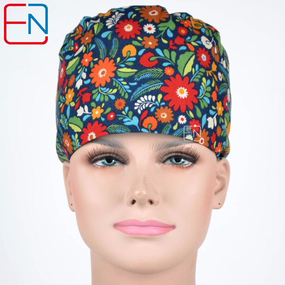 Women Surgical Scrub Caps With Little Flowers