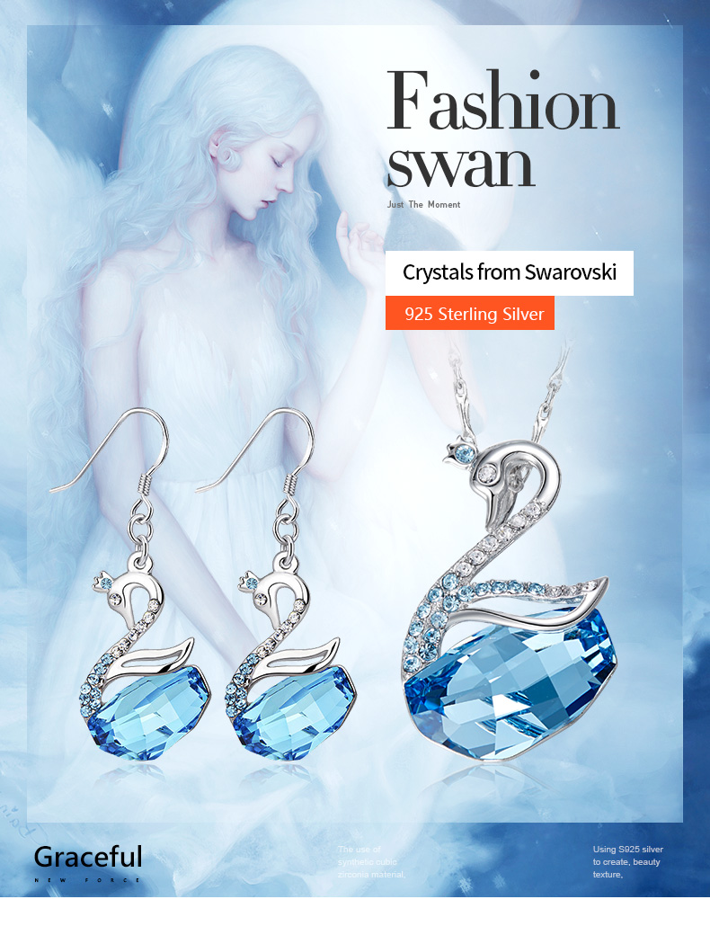 Swarovski Swan Necklace Earrings Set (1)