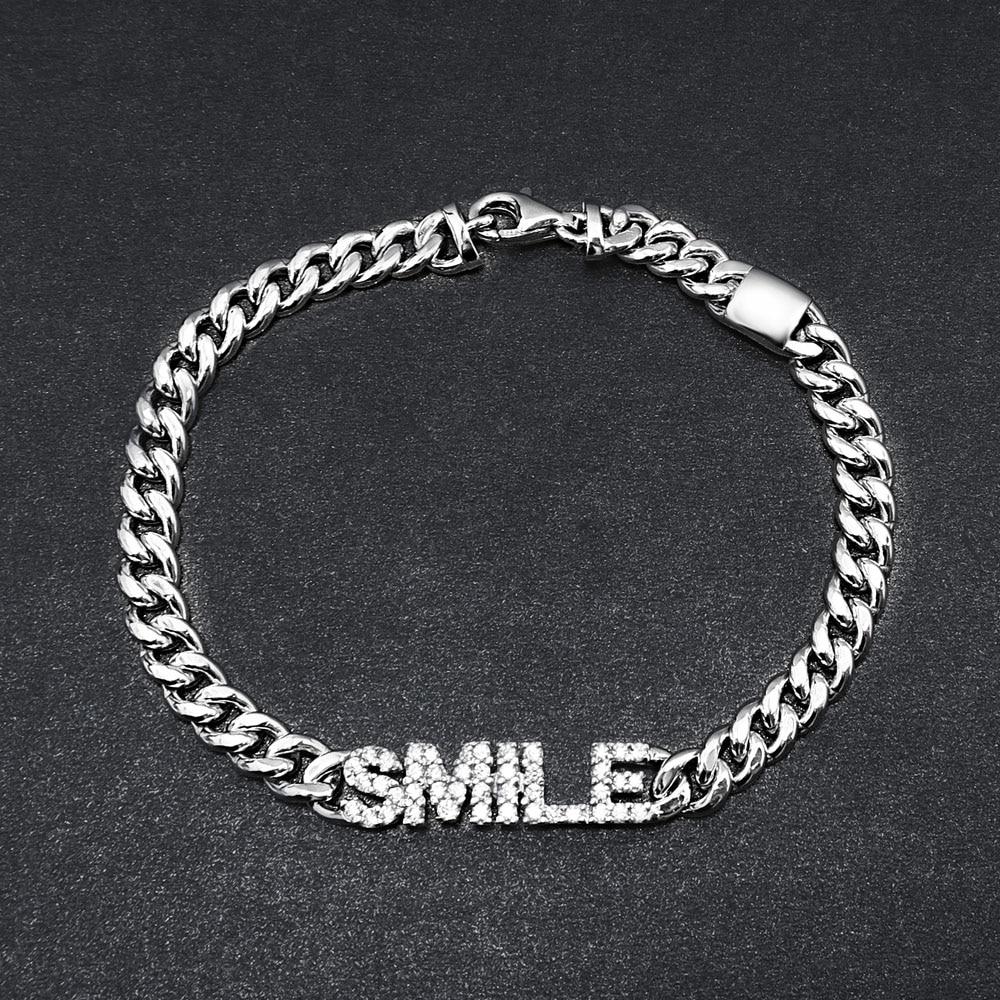 SLJELY Brand Design 925 Sterling Silver Letter SMILE Chain Bracelet Micro 5A Cubic Zirconia Stones Women