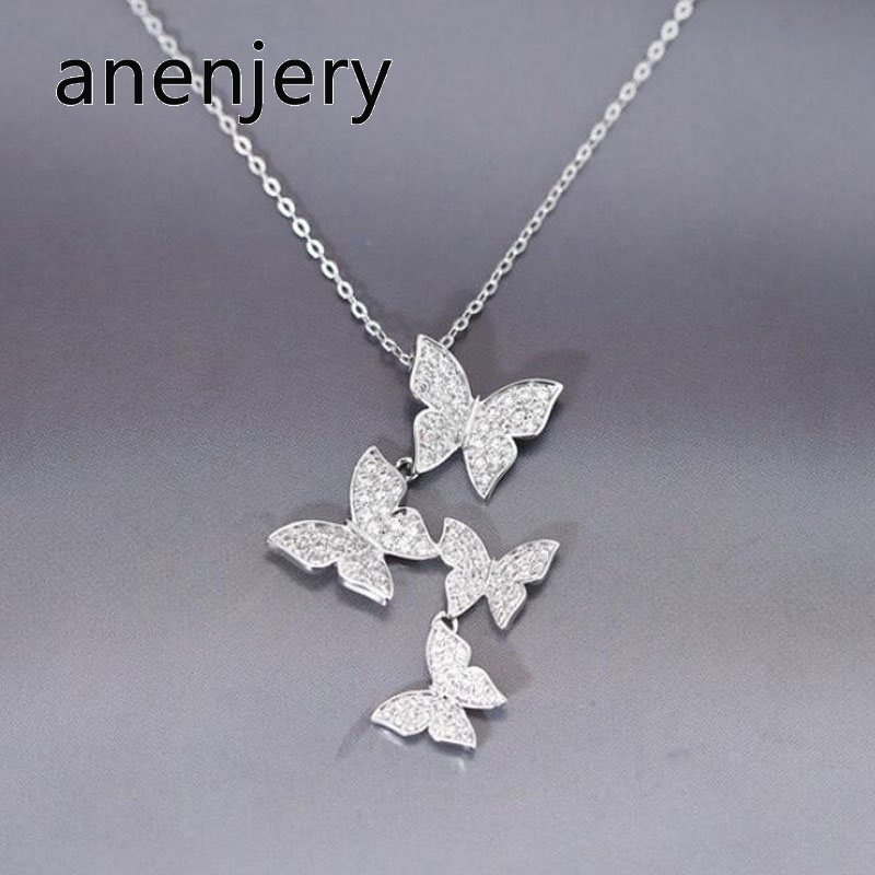 Anenjery Charming Dazzling Micro CZ Zircon Butterfly Necklaces For Women Gift 925 Sterling Silver Necklace Chain Choker S-N360