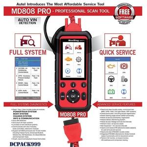 Image 3 - Autel Escáner MaxiDiag MD808 Pro, lector de aceite y reinicio de batería OBD2, todos los sistemas, reaprendizaje de pastilla de freno, estacionamiento, SAS, SRS, ABS, EPB