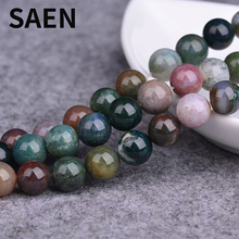 SAEN Wholesale Natural Stone colorful Grass agates Round Loose Beads For jewelry Making 4/6/8/10/12 MM DIY Bracelet jewellery
