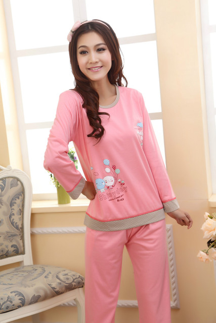 a6b732afc2 girl sleeping clothes sets women pajamas sleepcoat nightgown nighty full sleeve  tops tees+full pants bedgown