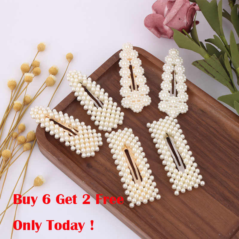 LEADERBEADS 2019 Korea Acrylic Pearl Snap Barrette Women's Elegant Geometric Gold Hairpins Hair Styling Accessories for Girl