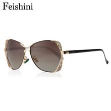 FEISHINI Brand Designer Fashion Eyewear Gradient Vintage Sunglasses Polarized Women Cat eye Pink Mirror HD Classic Metal Pattern