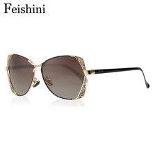 751292e836 FEISHINI marca diseñador moda gafas gradiente vendimia gafas de sol  polarizadas mujeres rosa del ojo de gato del espejo HD clási.