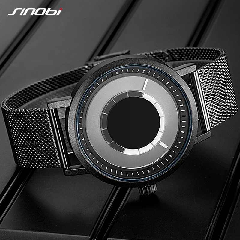 SINOBI New Unique Rotate Creative Design Men's Quartz Watch Men Casual Wristwatch Clock Male Gifts Blue Men Watches Reloj Hombre