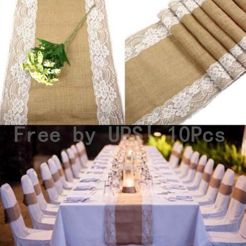 Free By UPS! 10Pcs * 30x275cm  Rustic Burlap Lace Hessian Line Table Runner Natural Jute For Party, Wedding Decoration   AA7922