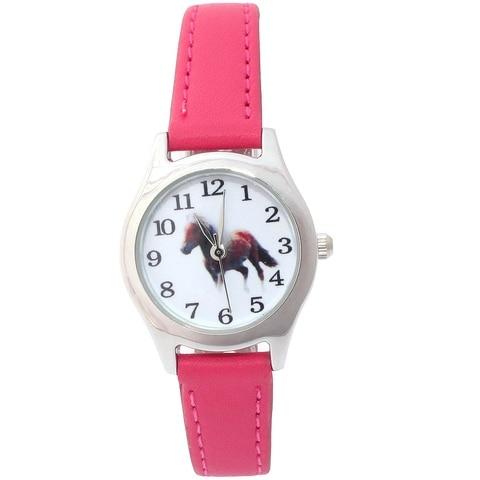 Hot Popular Cute Girl Ladies Watch Kids Watches Horse Leather Quartz Student Kids Animal Cartoon Children Wristwatch 10 Colors Lahore