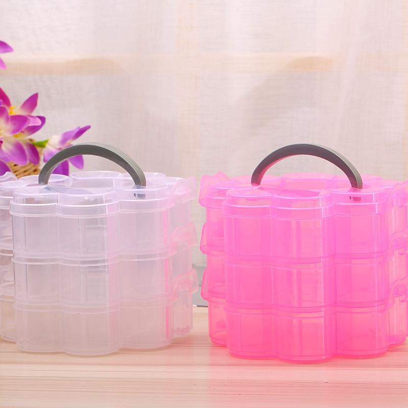 3 Tier Stackable Organiser Plastic Craft Storage Box Jewellery Tool