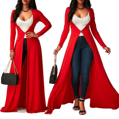 f8c253e233 Big Ladies Women Dress Red Clothes Open Front Cardigan Solid Long Sleeve  Maxi Floaty Baggy Top Clothing Woman Dress