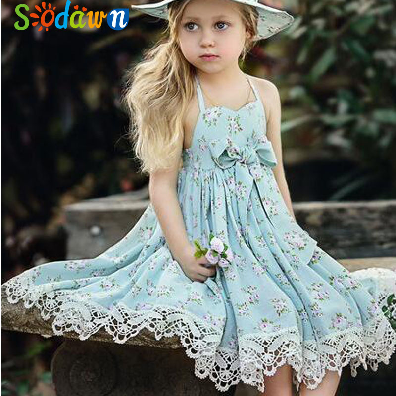 Sodawn 2018 New Summer Girls Clothes Europe And The United States Lace Floral Princess Dress Beach Tourism Baby Girls Dress