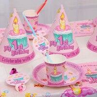 Doğum günü Parti Malzemeleri Deluxe Parti Için 6 Doğum Günü Şapka Kağıt Bardak Dışarı Darbe Ejderha Sivri Şapka Doku Örtüsü Saman