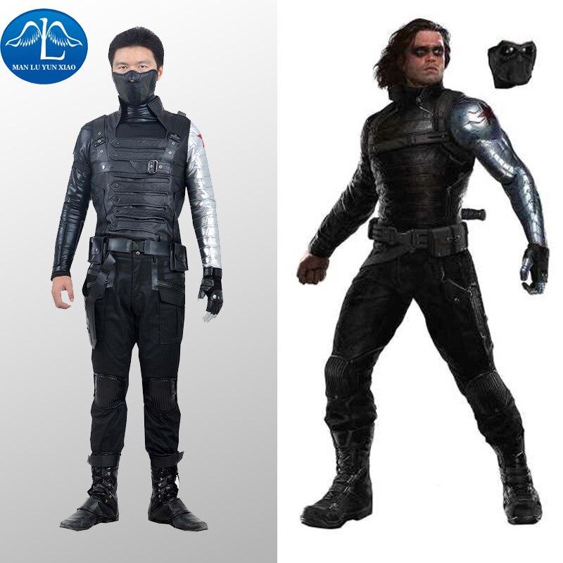 MANLUYUNXIAO Bucky Barnes Costume Captain America Civil War Winter Soldier Costume Cosplay Superhero Suit Adult Men Halloween