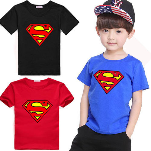 2019 Brand Boy Superman T-Shirt Short Sleeve Children Tees Costume Top Blue&Red New Cotton Toddler Infant Kids Clothes Wholesale