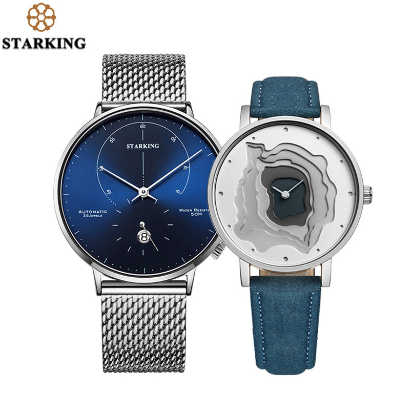 STARKING Automatic Watch Self-wind 28800 Beats Mechanical Movement Wristwatch Men Steel Male Clock Blue Vintage Watch SETSTARKING Automatic Watch Self-wind 28800 Beats Mechanical Movement Wristwatch Men Steel Male Clock Blue Vintage Watch SET