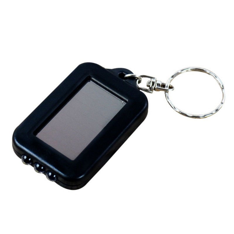 Portable 3 LED Solar Power Flashlight Pocket Keychain Key Ring Torch Outdoor Every Day Carry Emergency Light