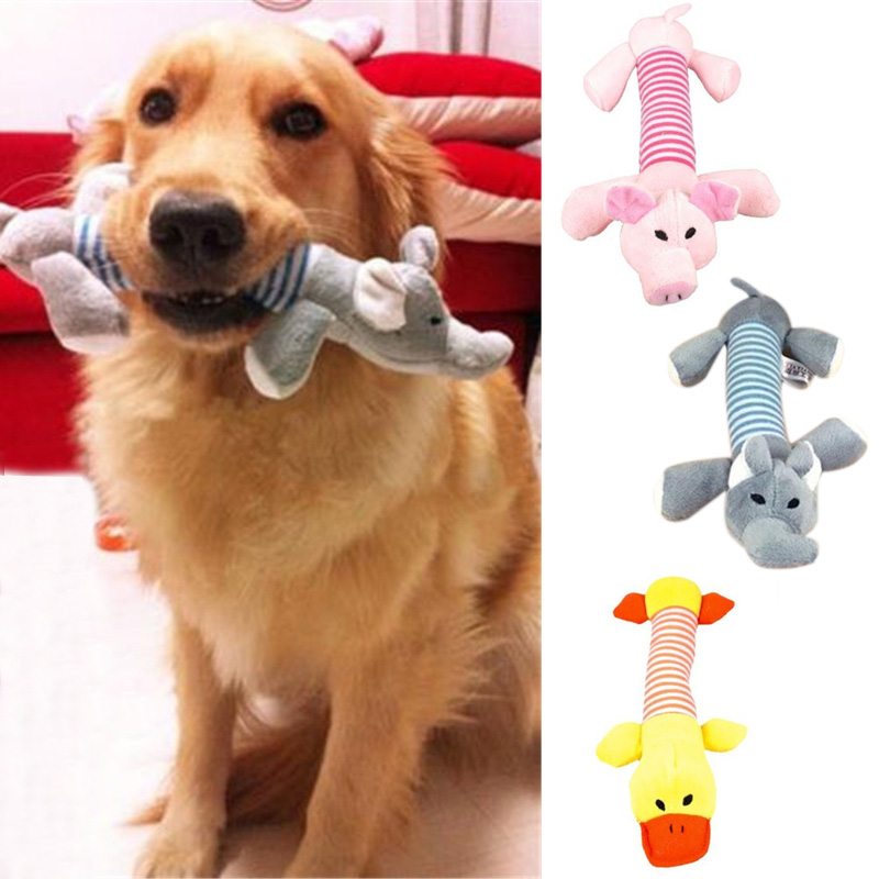 New Pet Puppy Chew Squeaker Squeaky Plush Sound Duck Pig Elephant Animal Toys E2shopping ...