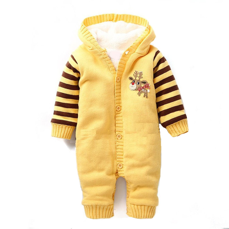 Brand One-Piece Baby Rompers Hooded Christmas Newborn Layette Child Infantil Snowsuit Winter Jumpsuit Kids Next Boy Girl Clothes christmas 2017 brand new winter newborn infantil baby rompers kid boys and girls clothing real fur jumpsuit down overall jacket