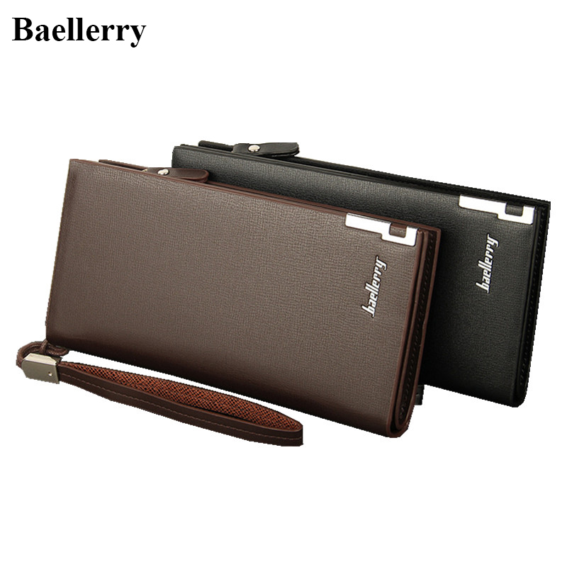 Baellerry Leather Wallets Men Brand Zipper Long Coin Purses Money Bags Credit Card Holders Male Clutch Wristlet Phone Wallets  wallets men brand baellerry large capacity 16 card position credit card holder long zipper coin purse money bag purse cartera