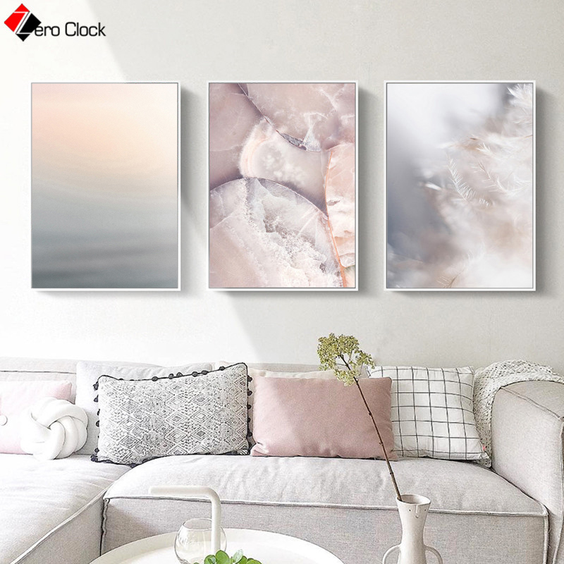 Pastel Color Wall Art Minimalist Canvas Painting Neutral Blush Pink Gray Poster Nordic Decorative Wall Pictures For Living Room