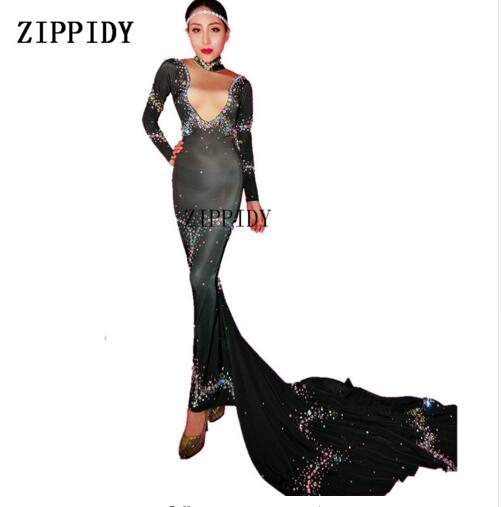 Colorful Crystals Stretch Black Dress Women