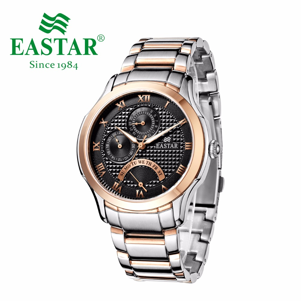 Eastar Roman number Black dial Watch Men Business Rose Gold And Silver 30M Waterproof Quartz Wristwatches Luxury Bracelet Clock paidu fashion men wrist watch casual round dial analog quartz watch roman number faux leatherl band trendy business clock
