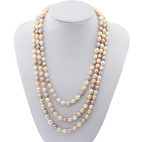 SNH A grade 152cm 7-8mm rice shape natural freshwater pearl necklace free shipping