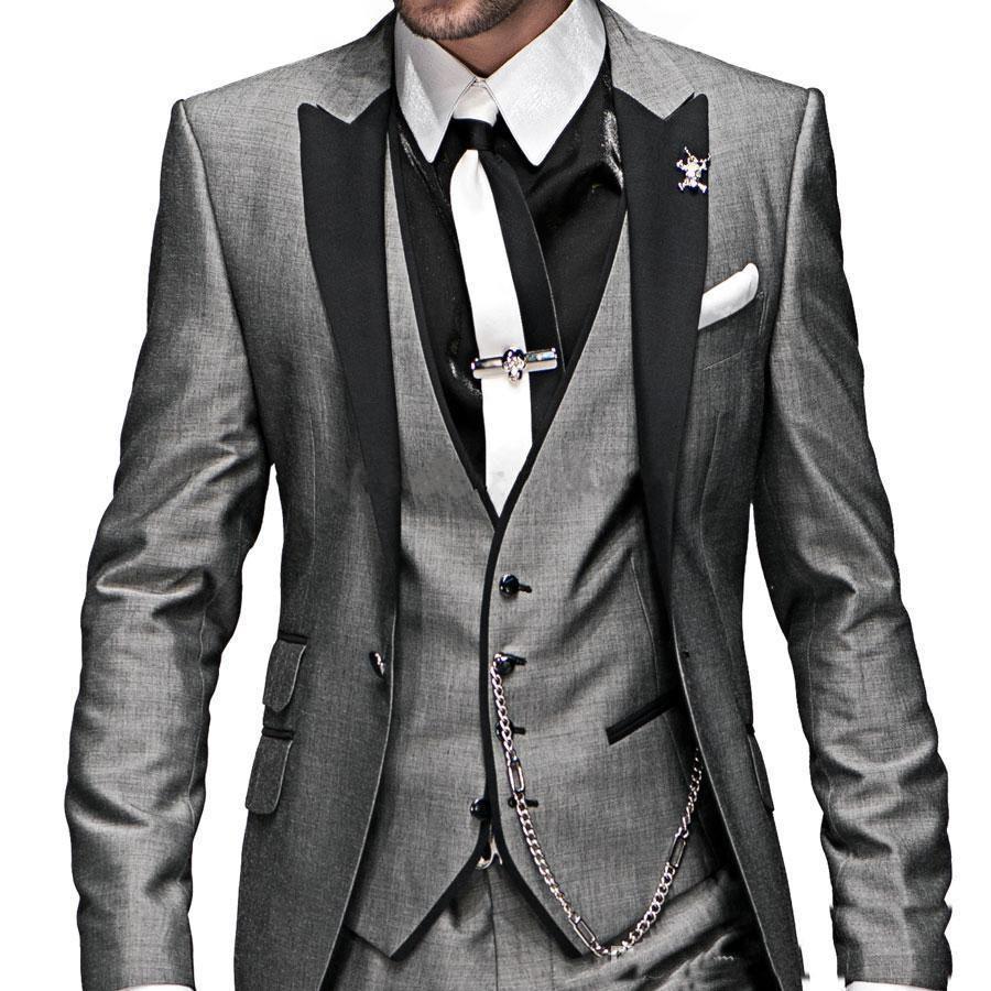 Custom made Charcoal grey black Groom Tuxedos latest coat pant ...